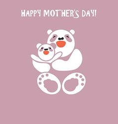 sticker card with happy mother and child panda vector image vector image