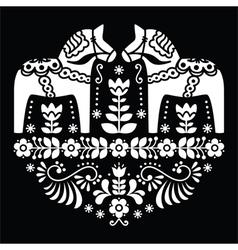 Swedish Dala or Daleclarian horse floral pattern vector image vector image