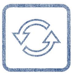 Sync arrows fabric textured icon vector