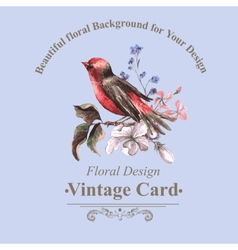 Vintage Floral Card with Bird on Branch vector image