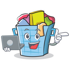 With laptop laundry basket character cartoon vector