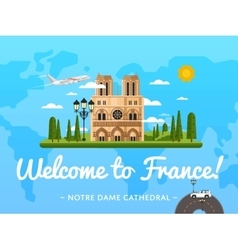 Welcome to france poster with famous attraction vector