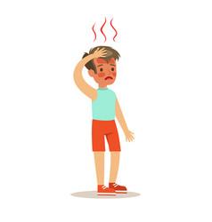 Sick overheated kid feeling unwell suffering from vector