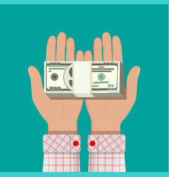 Stack of dollar banknotes in hands vector