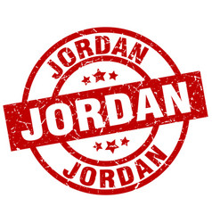 Jordan red round grunge stamp vector