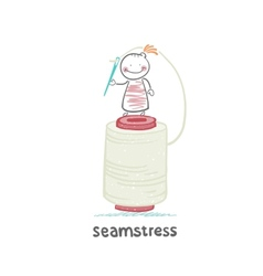 seamstress stands on a large skein of thread and vector image