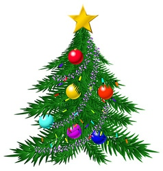 Christmas tree with baubles and garlands vector image