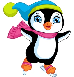 Penguin figure skating vector