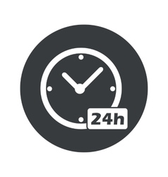 Monochrome round 24h workhours icon vector