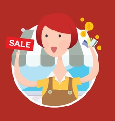Woman working with sale sign vector