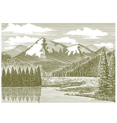 Woodcut mountain river vector