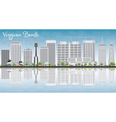 Virginia beach skyline with gray buildings vector