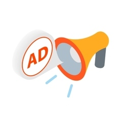 Advertisement megaphone icon in isometric 3d style vector