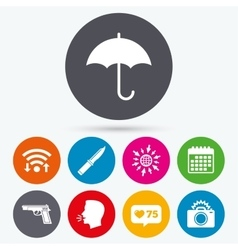 Gun weapon knife umbrella and photo camera vector
