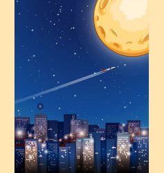 Airplane flying on fullmoon night vector