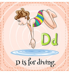 Alphabet D is for diving vector image