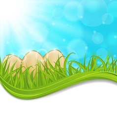 April background with Easter colorful eggs vector image