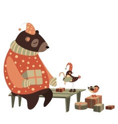 Bear and bird celebrate christmas vector