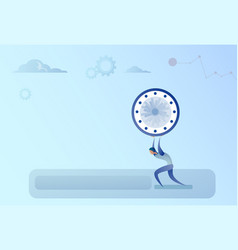 business man holding clock time management vector image vector image