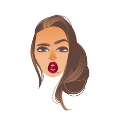 cartoon woman sexy red lips cherry vector image vector image