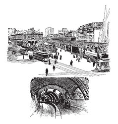 City transportation vintage vector