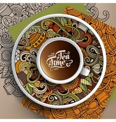 Cup of coffee and tea time doodles vector