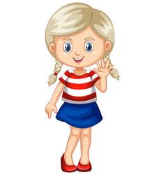 Cute girl waving hand vector