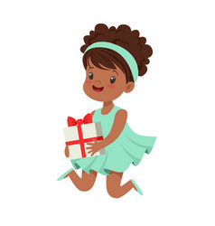 Cute happy little girl wearing magic mint dress vector