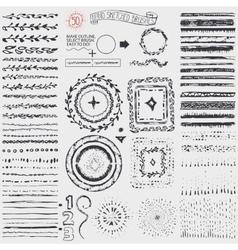 Doodle pattern brusheswreathframeburstblack vector