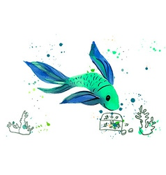 Fish Watercolor Isolated on a White Background vector image