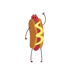 Funny hotdog waving its hand humanized fast food vector