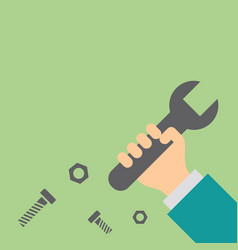 Hand holding wrench repair and service concept vector