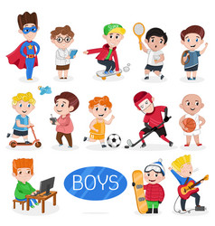 Happy boys characters in various actions vector