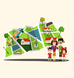 Happy family with city map on background flat vector