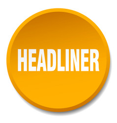 Headliner orange round flat isolated push button vector