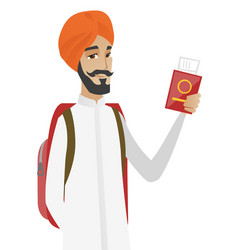 Hindu man traveler holding passport with ticket vector