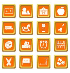 Kindergarten symbol icons set orange vector