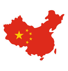 map of china in national flag colors icon isolated vector image