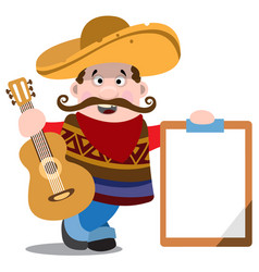 Mariachi in a sombrero with a guitar mexican vector
