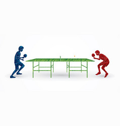 Men play table tennis ping pong 2 player vector