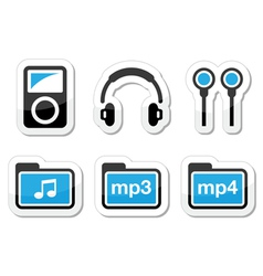 Mp3 player icons set vector image vector image
