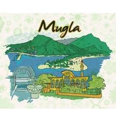 mugla doodles with floral vector image