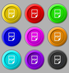 Pdf icon sign symbol on nine round colourful vector