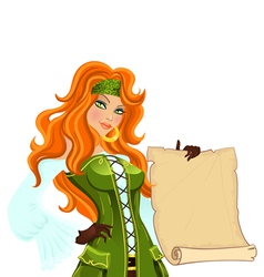 pirate girl with scroll vector image vector image