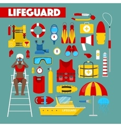 Profession lifeguard water rescue icons vector