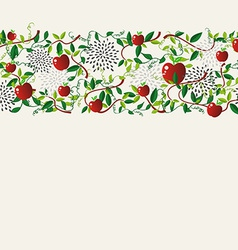 Red apple food seamless pattern garland vector image