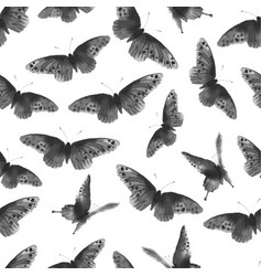 seamless background with black butterflies hand vector image vector image