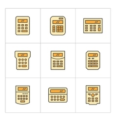 Set color line icons of calculator vector image vector image