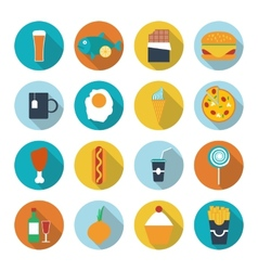 Set of flat design icons for food and drink vector image vector image