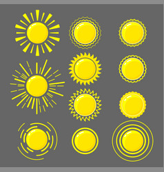 set of yellow suns vector image vector image